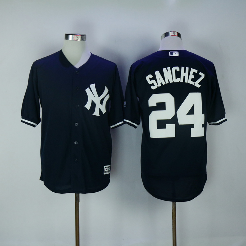 2017 MLB New York Yankees 24 Gary Sanchez Blue Game Jerseys